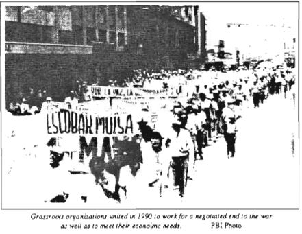Grassroots organizations unite in 1990 to work for a negotiated end to the war as well as meet their economic needs