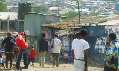 PBI volunteer accompanies social justice leader from the Mathare informal settlement, Nairobi