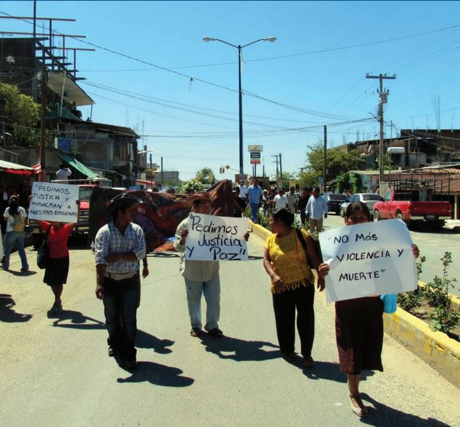 Protest in Ayutla, Guerrero following the assassination of OFPM leaders